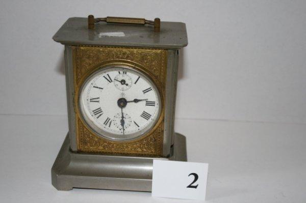 """2: 5 ½"""" Ughans key Wind Metal clock with key"""