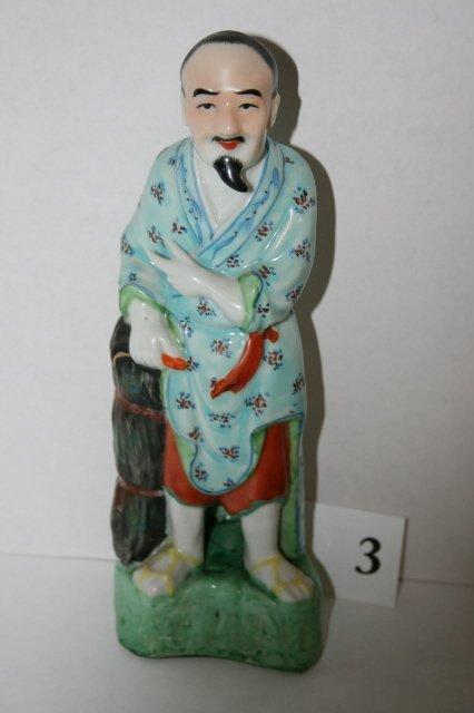 "3: 10"" Oriental man statue"