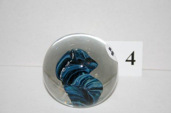 4: Blue swirl paperweight