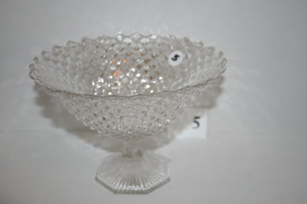 """5: 7 ½"""" Flint glass Printed Hobnail compote"""