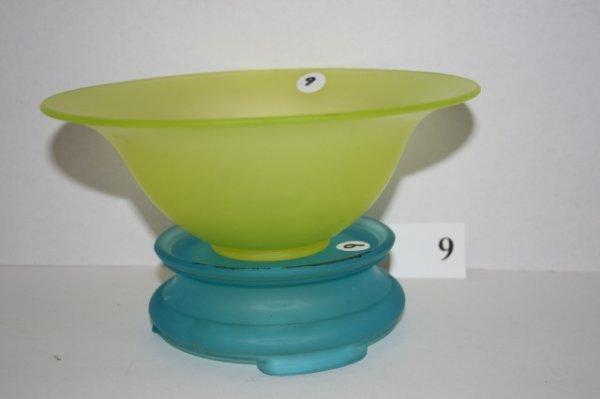 9: Frosted Tiffin Vaseline center bowl with blue pedest