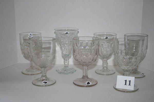 11: 7 Pressed pattern glass goblets