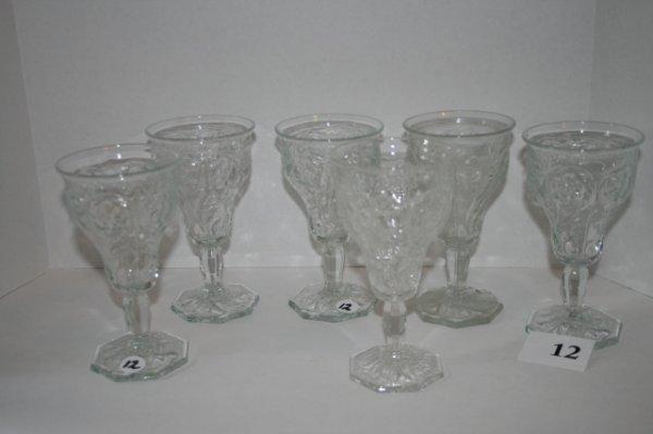12: Set of 6 Flower pattern glass goblets