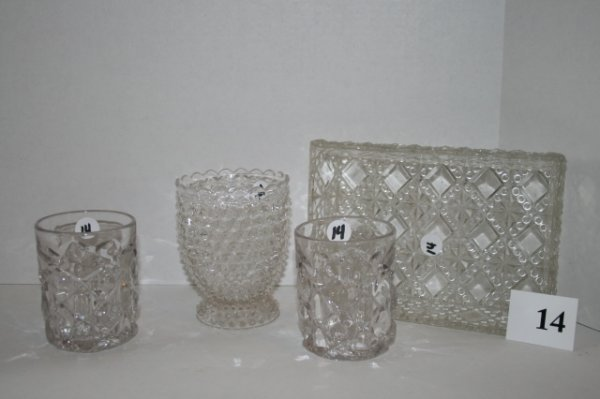 14: Four pieces of Findlay pattern glass