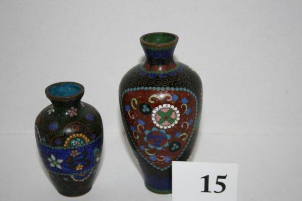 15: Two Cloisonne vases
