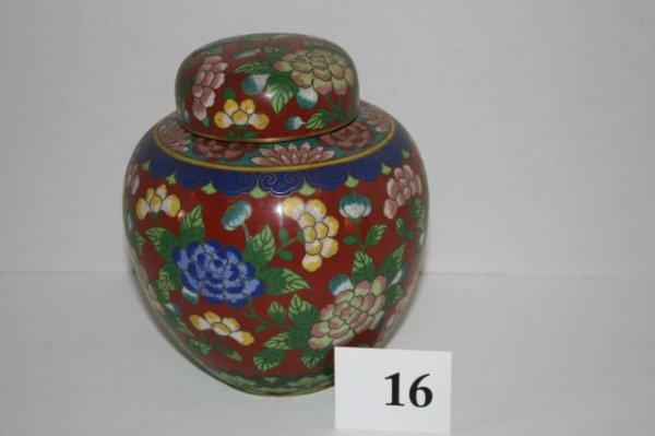 """16: 6"""" Cloisonne ginger jar"""