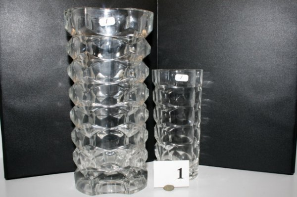 1: Two Crystal Vases