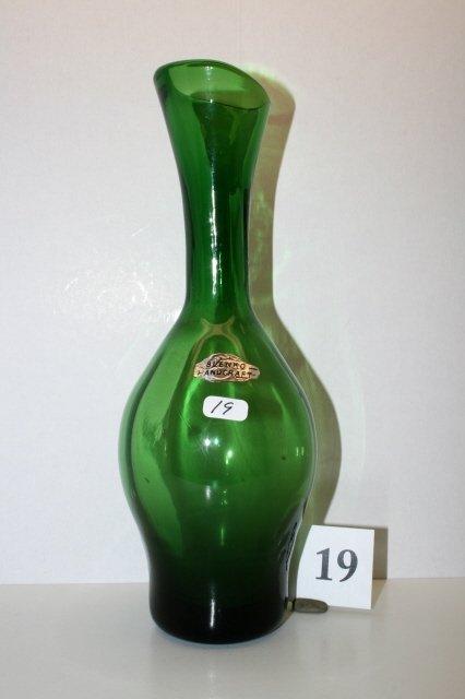 """19: 10 1/2"""" Blenko Green Vase"""