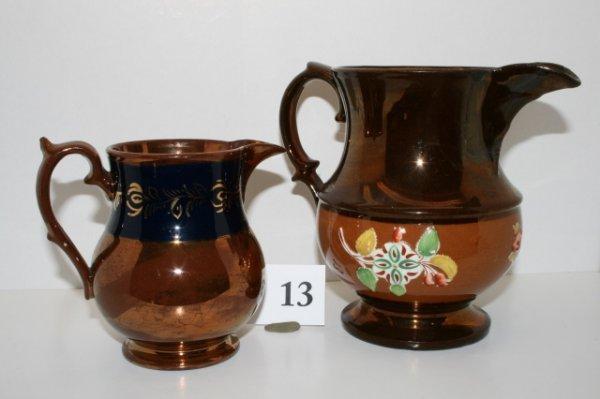 13: 2 Copper Lustre Pcs.