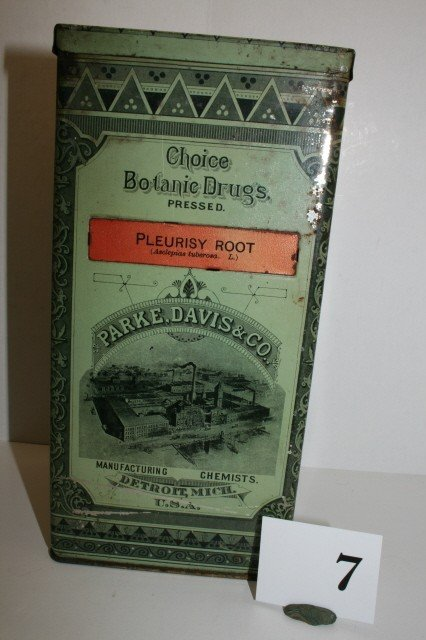 "7: 9"" Parke Davis & Co. Tin Chemical Box"