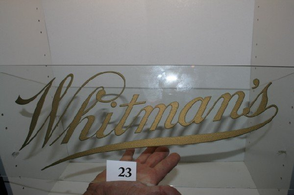 "23: 8"" x 41"" Whitmans Glass Candy Sign"