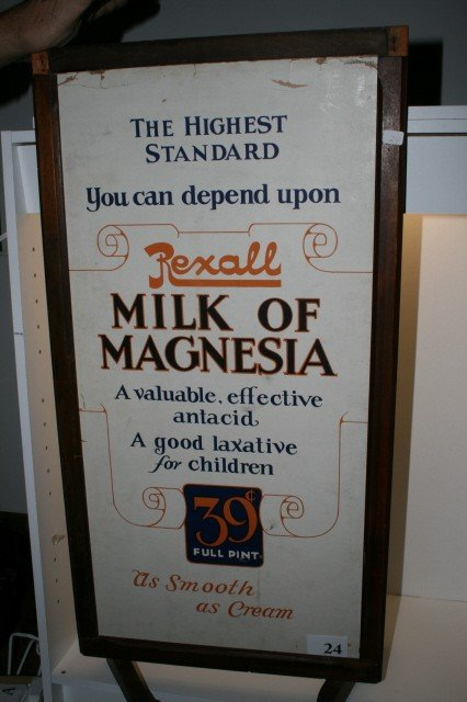 "24: 16"" x 30"" Rexall 2 Sided Sign in wood frame"