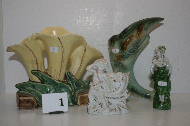 1: McCoy Tulip Vase, Hull Cornucopia Vase