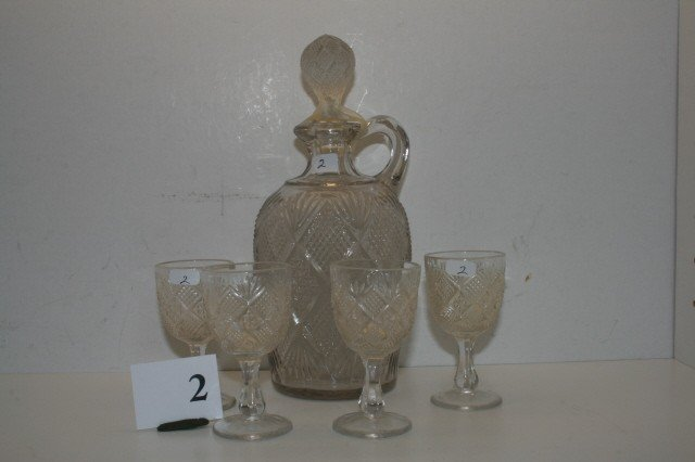 2: Sunburst Jug & (4) Wine Glasses