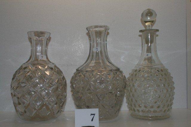 7: (3) Pattern Glass Water Bottles