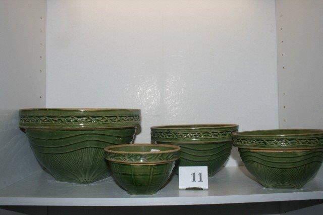 11: (4) Green Pottery Mixing Bowls
