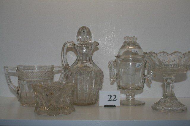 22: (5) pcs. of Pattern Glass