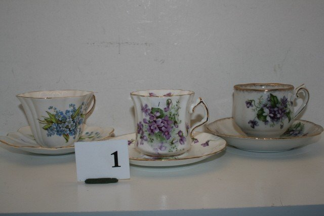 1: 3 English Cups & Saucers