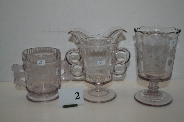 2: 3 Pressed Glass Spoon Holders