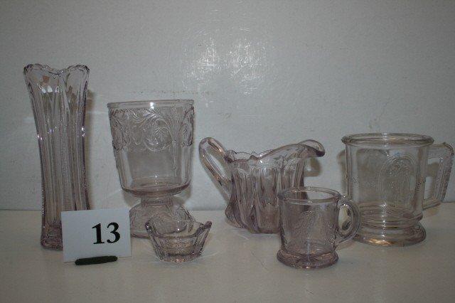 13: 6 pcs. of Pressed Glass
