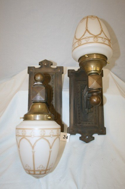 24: Pair of Wall Sconces with Gothic Shades