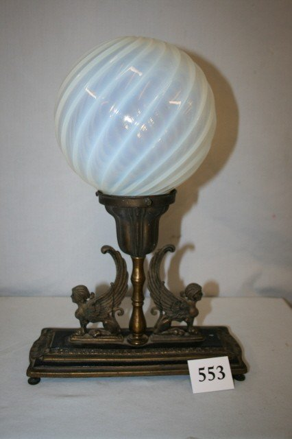 553: Table Lamp with Opalescent Globe