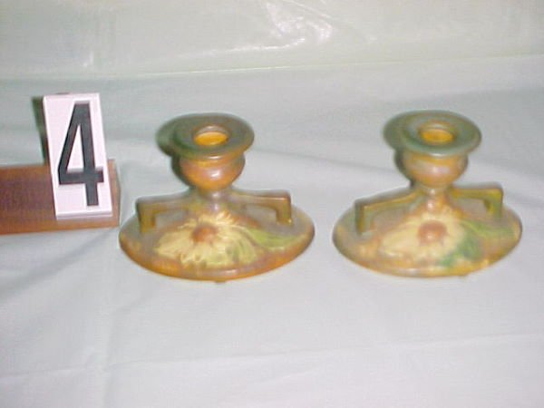 4: Pair of Roseville DAHLROSE candlesticks