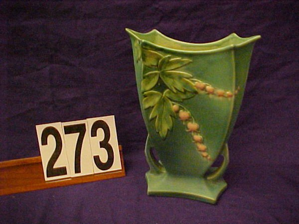 "273: Roseville green BLEEDING HEART #970-9"" vase"
