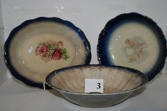 3: 3 Pc. Blue Transferware