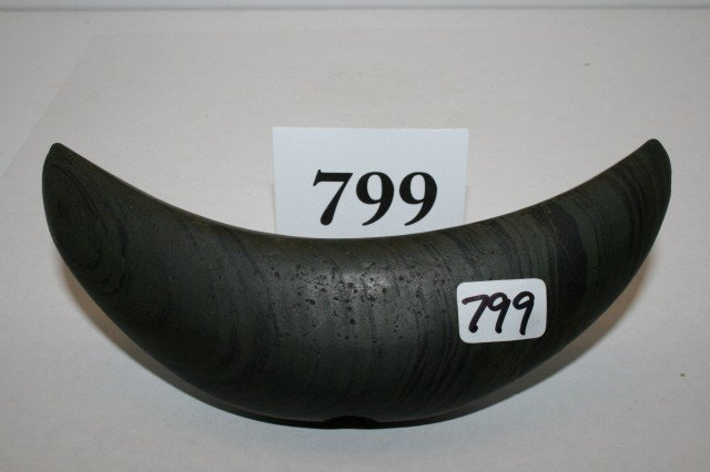 799: Banded Slate Crescent Bannerstone