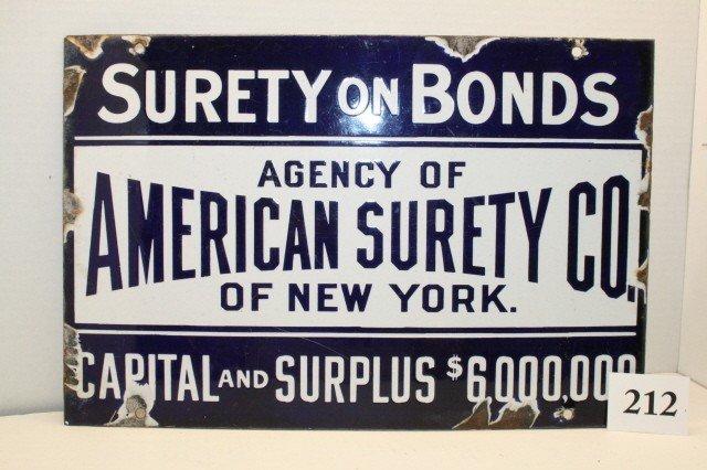 "212: Porcelain Sign ""American Surety"