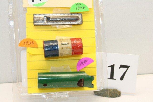 17: 3 Metal Whistles. Year 1920,1930,1940