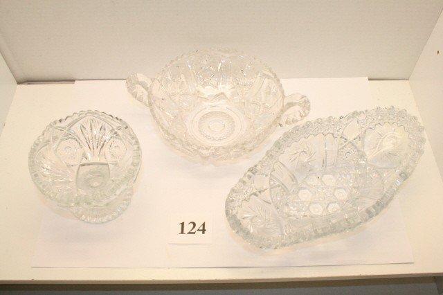 124: 3 Pcs. of Pressed Pattern Glass