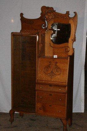 186: Oak Quarter Sawn Bookcase Secretary WILL NOT SHIP
