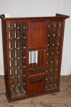 188: Oak Post Office Cabinet - WILL NOT SHIP