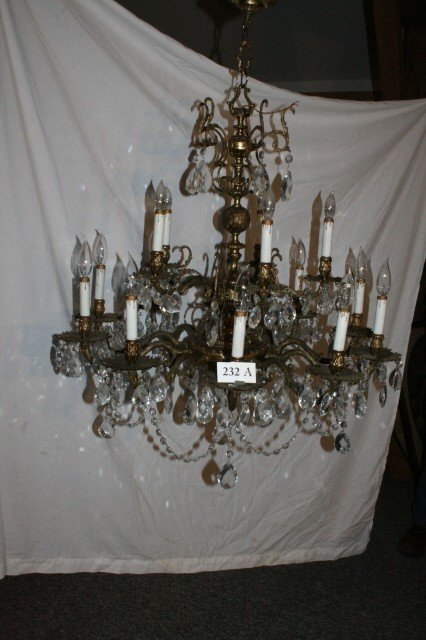 232A: Brass Candleabra Chandelier - WILL NOT SHIP