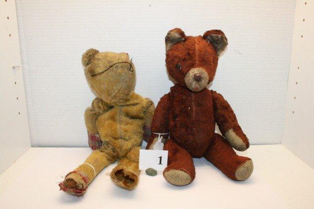 1: Lot 2 Well Loved Teddy Bears