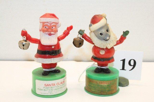 19: Santa Claus & Santa Mouse push up toys