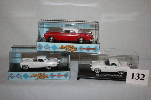 132: 1955 Chrysler 300, 2 1956 Thunderbirds