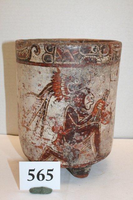 "565: 7 ¼"" x 6"" Mayan Cylinder Vessel – Polychrome crack"