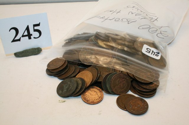 245: 200 Assorted Indian Head Pennies