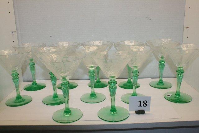 18: Set of 12 Tiffin Champagne Crystal