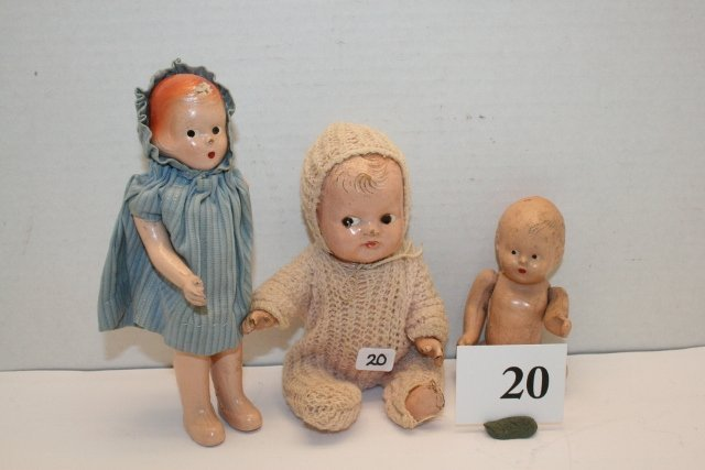 20: 3 Small Composition Dolls