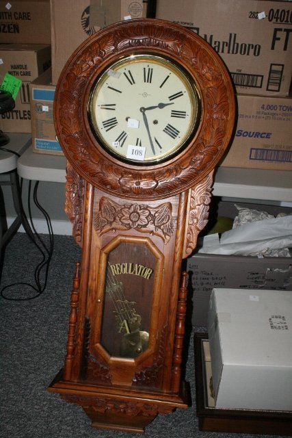 108: Large Carved Regulator Wall Clock WILL NOT SHIP