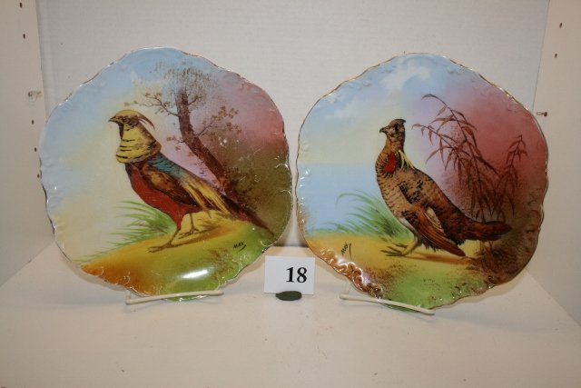 18: 2 Hand painted Game Plates