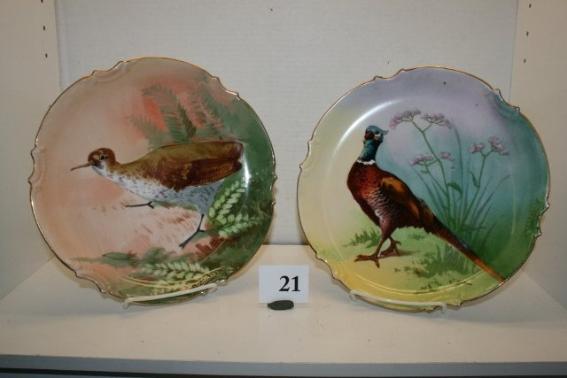21: 2 Hand Painted Limoge France Plates
