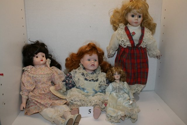 4 Assorted Contemporary Bisque Dolls