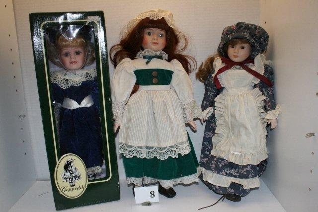 3 Contemporary Bisque Dolls