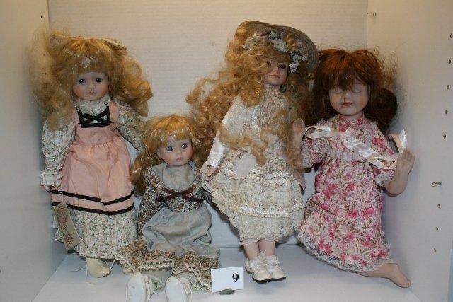4 Contemporary Bisque Dolls