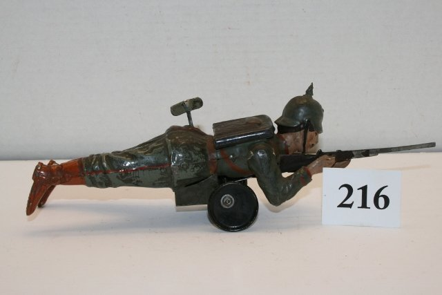 Tin Crawling Wind Up German Soldier Toy